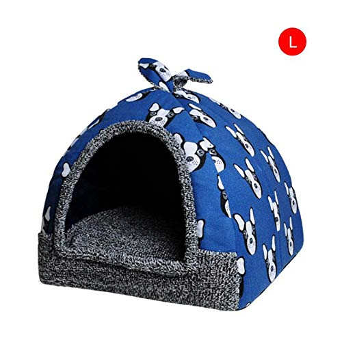 (Hot Fleece Soft Pet Yurt Home Dog Bed Puppy Dog Kennel Pet Bed House for Dog Cat Small Animals Home Dog House with Mat)