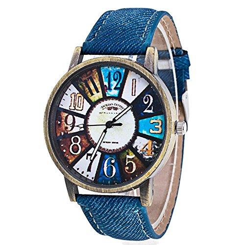 Women Wrist Watches, FTXJ Retro Harajuku Graffiti Pattern Denim Band Watch,Blue
