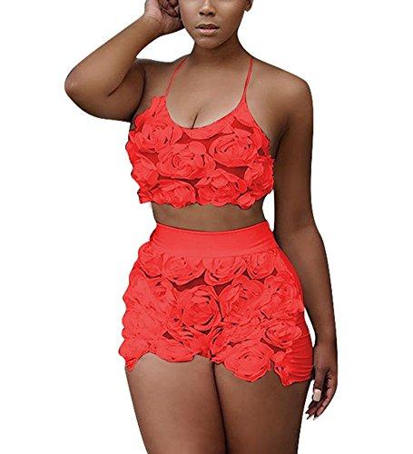 Dreamparis Women's Lace Floral 2 Pieces Outfit Halter Neck Crop Top+Shorts Set (2 Piece Set Halter)