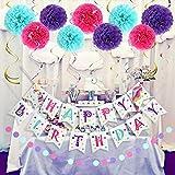 LITAUS Unicorn Birthday Decorations, Purple and