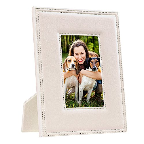Photo Leather Grain - Tarshim Picture Frames 5x7,Wood Leather Photo Frame Glass Front Made to Display 5x7 inch Picture Tabletop/Desktop Vertical and Horizontal Included (Beige)