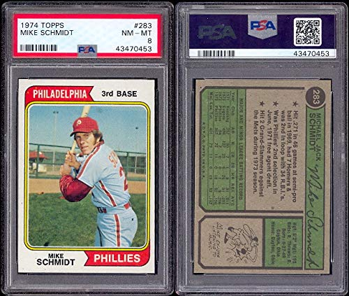 1974 Topps Regular (Baseball) card#283 psa Mike Schmidt (psa) of the Philadelphia Phillies Grade Near Mint/Mint or Better ()