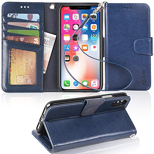 Arae Case for iPhone X/Xs, Premium PU Leather Wallet Case [Wrist Straps] Flip Folio [Kickstand Feature] with ID&Credit Card Pockets for iPhone X (2017) / Xs (2018) 5.8 inch (not for Xr) - Blue