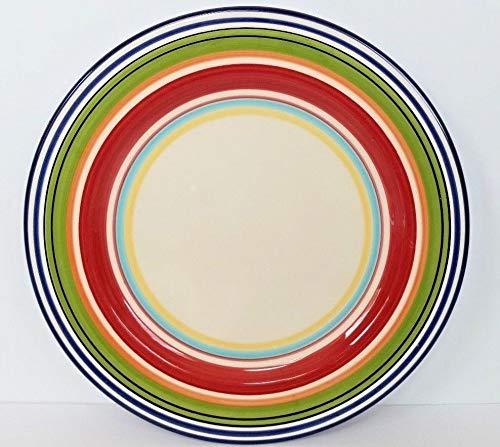 Pottery Barn Espadrille Stripe Large Dinner Plates Set of 4