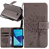 Galaxy J7 V Case, Galaxy J7 Perx Case, Galaxy J7 Sky Pro Case, Linkertech [Kickstand Feature] PU Leather Wallet Flip Pouch Case Cover with Wrist Strap & Card Slots for Samsung Galaxy J7 2017 (B-3)