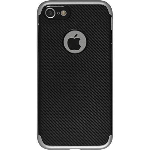 Hybridhülle für Apple iPhone 8 - Carbonoptik silber - Cover PhoneNatic Schutzhülle + 2 Schutzfolien