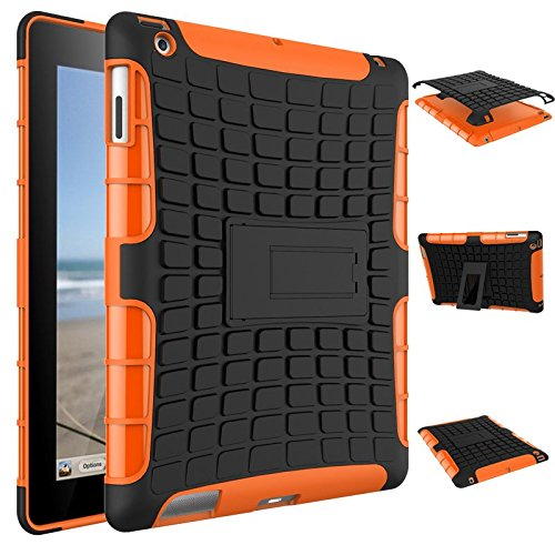 iPad 4 Case, iPad 3 Cover, iPad 2 Shockproof Case, Dual Layer Protection Hybrid Case Hard Shell Rugged Cover with Kickstand for iPad 2, iPad 3, iPad 4 (NOT fit iPad Air or iPad Pro) (Orange) by SCIMIN