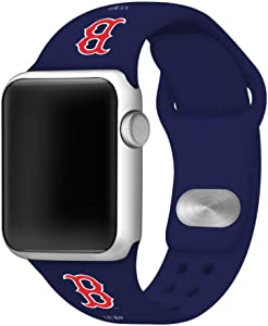 Boston Red Sox Silicone Sport Watch Band Compatible with Apple Watch (42mm/44mm - Navy)