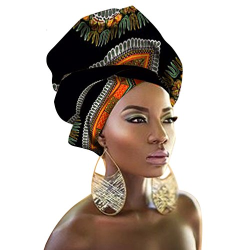 (Chien Multi-Color Urban Ladies Hair Accessory Headband,Bazin Wax Print Wrap Tie Scarf, African Head Scarf Gele Ipele (Black and White))