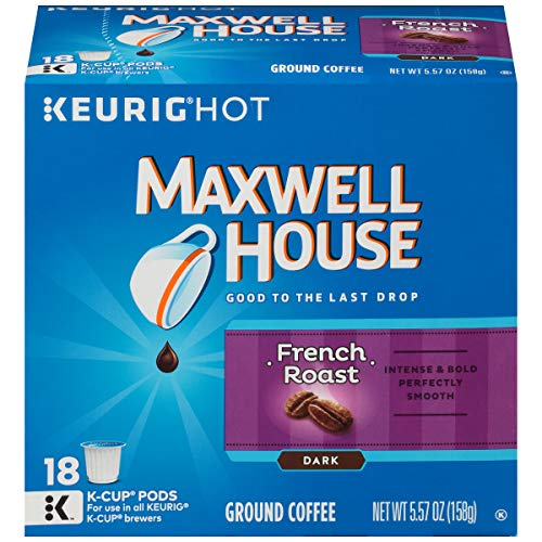 MAXWELL HOUSE French Roast Coffee, Dark, K-CUP Pods, 18 Count, 5.57 oz ()