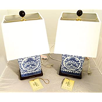 pair of 2 ralph lauren zen koi fish porcelain ceramic blue u0026 white traditional table