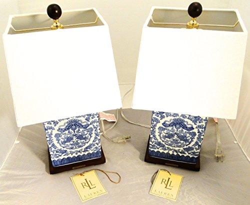 Price comparison product image Pair of 2,  Ralph Lauren Zen Koi Fish Porcelain Ceramic Blue & White Traditional Table Lamps