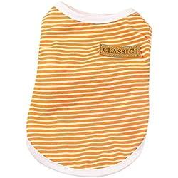 Farjing Pet Dog Apparel, Puppy Classic Vest T-shirt Dog Clothes Striped Vest (2XL,Orange)