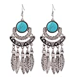 Hoxekle Vintage Bohemian Tassel Drop Earrings Turquoise Leaves Antique Dangle Earrings For Women
