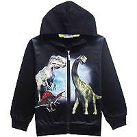 YIPWIN Toddler Little Boys Hoodies 3D Dinosaur Hooded Zipper Sweatshirt Kids Halloween Hoodie