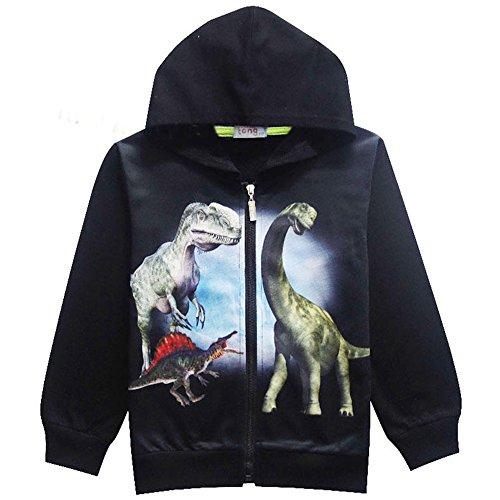 Boys Toddler Hoodie Dinosaur Cool Trendy Tshirt Hot Tops Long Sleeve Sweatshirt for Kids (Black-2, 5T) ()