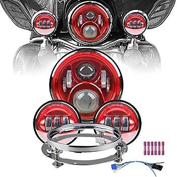 Adjure FT1001 Red Rear LED Replacement Motorcycle Fender Tip Light for Harley Davidson FL