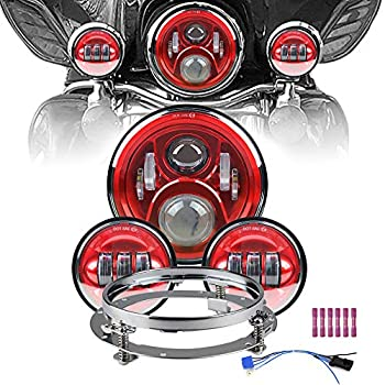Image of Motorcycle 7' LED Headlight Projector Compatible for Motorcycle Road King, with 4.5 inch LED Passing Lamps Fog Lights + Bracket Mounting Ring (Red) … Headlight Bulbs & Assemblies