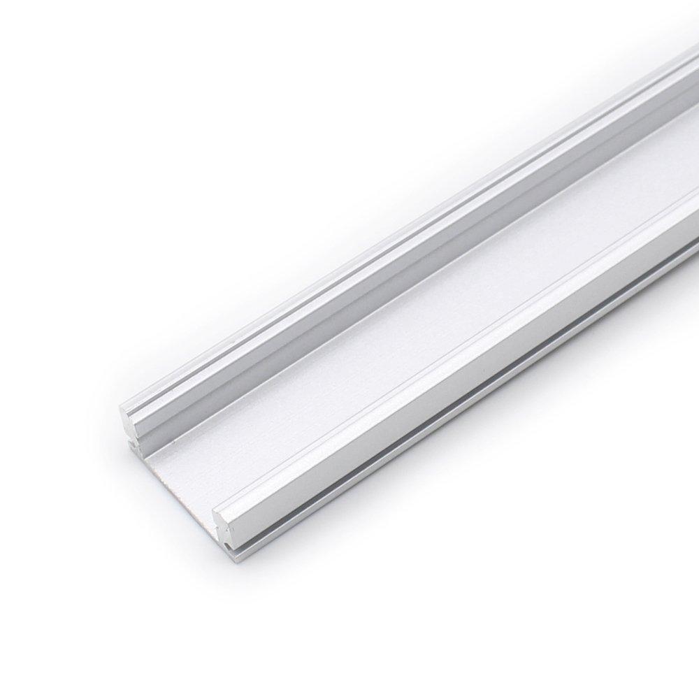 Paquete de 10 unidades de 1 m de perfil de canal LED de aluminio extrusi/ón con difusor de cubierta blanca lechosa para instalaci/ón de tiras LED U shape