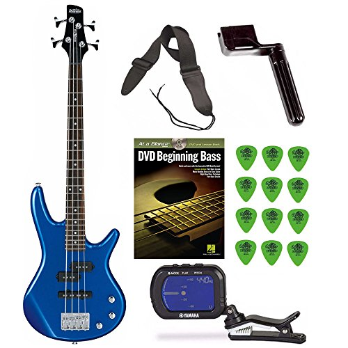 Ibanez GSRM20SLB Mikro Bass Guitar (Starlight Blue) + Free DVD, Guitar Pics, Strap, String Winder, and Tuner