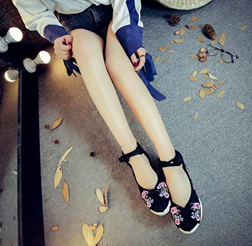 Willsego Willsego Willsego Bestickte Schuhe Leinen Sehnensohle Ethno-Stil Erhöhte Damenschuhe Mode bequem lässig schwarz 36 (Farbe   - Größe   -) e8efd7