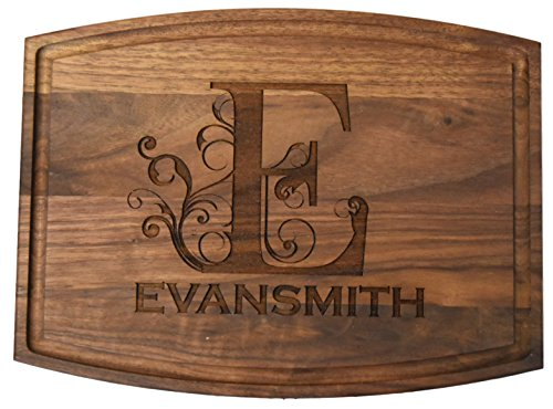 (Personalized Custom Engraved Walnut Wood Cutting Board - Family Themed - Beautiful, made to order & affordable (Large Walnut - 12
