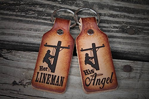 Her Lineman, His Angel Leather Key Chain Set, Gift boxed, Made in the USA!