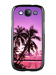 Design for Mass Customization Tropical Palm Trees Sunset Beach Black Phone Case For Samsung Galaxy S3 I9300 Cover Case