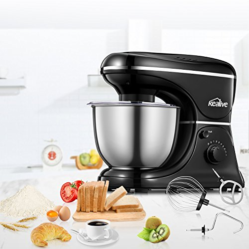 Kealive Stand Mixer, 8 Speed 700 Watt Kithchen Mixer with 5-Quart Stainless Steel Bowl, Dough Hooks, Whisk, Beater, Pouring Shield, Dough Mixer, Black by Kealive (Image #6)