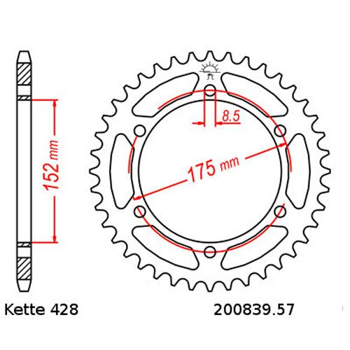 Kettensatz Yamaha DT 125 91-06 Kette RK GS 428 HSB 134 offen GOLD 16//57