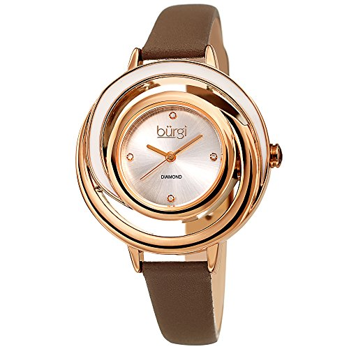 Burgi Leather Women's Watch - Slim Leather Strap - Three Hand Movement with Diamond Markers - Floating Enamel Dial - Round Analog Quartz