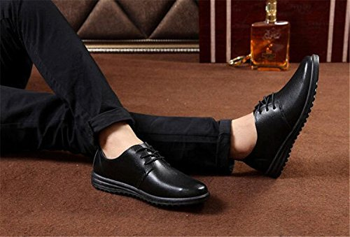 Uniform Shoes Casual up Toe Men's Black Leather Modern Shoes Plain missfiona Lined Lace Dress UaBIwxwnT