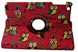 iStyle Dealer Newly Designed PU Leather Luxury Stylish Slim-Fit Ultra Lightweight 360 Degrees Rotating Night Owl Bird Style Design Series Smart Cover Case Skin with Auto Sleep / Wake Feature Multi-Angle Viewing for iPad mini 2 ipad mini 3 iPad with Retina Display 2013 Release iPad mini 2014 Versions Bonus Stylus Pen and Cleaning Cloth Pad - Owl Red