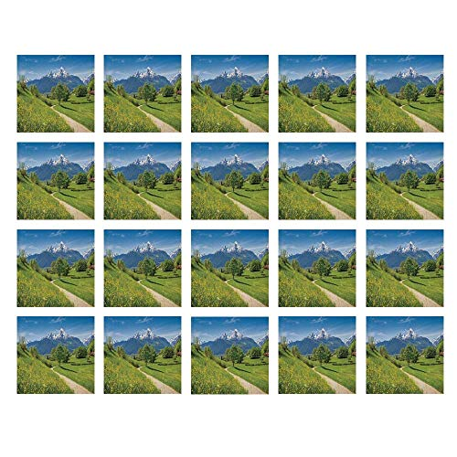 YOLIYANA Apartment Decor Waterproof Ceramic Tile Stickers,Spring Scenery in Alps with Floral Grass and Snowy Mountain Tops in Rural Village Photo for Kitchen Living Room,One Size