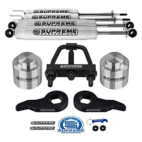 Supreme Suspensions - Complete 3 Inch Suspension Lift Kit with Shock Absorbers for 2001-2006 Chevy Suburban/Tahoe and GMC Yukon 1500 PRO KIT [Unloading Tool Included] 2' Coil Spring Spacer Lift