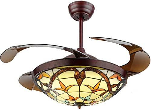 KALRI 42 Tiffany Ceiling Fans with 3 LED Light Color Changing and Remote Control Retractable Invisible Classic Fan Chandelier Pendant Lamp for Living Room Bedroom