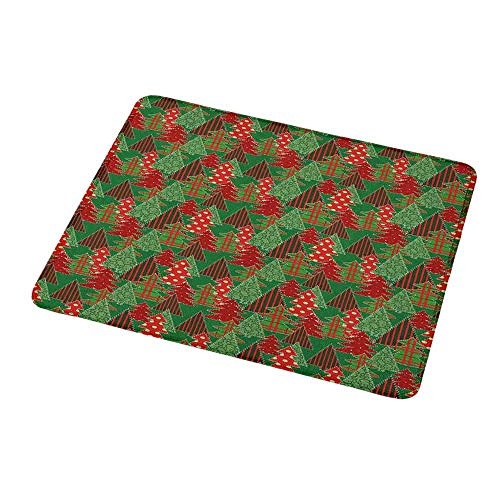 "Non-Slip Rubber Mousepad Christmas,Abstract Pines with Swirls Dots Lines Design Patchwork Style Print,Dark Green Red Dark Coral,Personality Desings Gaming Mouse Pad 9.8""x11.8""inch"