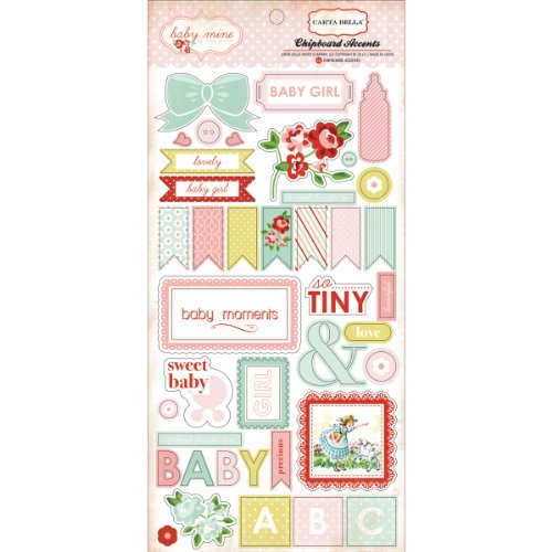 Echo Park Paper Baby Mine Girl Chipboard Accents, 6 by 13-Inch
