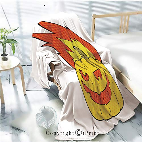AngelSept Printed Throw Blanket Smooth and Soft Blanket,Comic Book Speech Bubble Cartoon Flaming Halloween Pumpkin for Sofa Chair Bed Office Travelling Camping,Kid Baby,W31.5 x H47.2