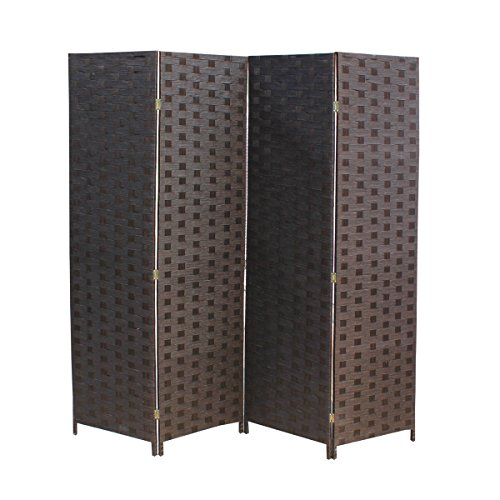 BestMassage 4 Panel Wood Mesh Woven Design Folding Wooden Screen Room Divider by BestMassage