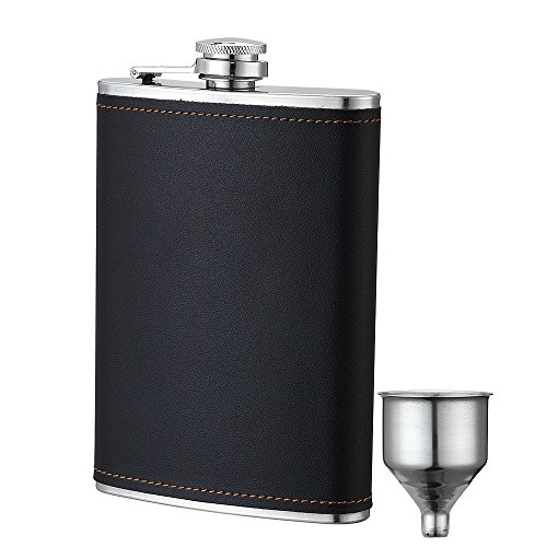 YWQ Flask for Liquor and Funnel,8 Oz Leak Proof Stainless Steel Pocket Hip Flask with Black Leather Cover for Discrete Shot Drinking of Alcohol, Whiskey, Rum and Vodka, Gift for Men (Best Liquor For Men)