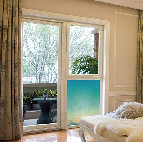 - ALUON Privacy Window Film Decorative,Aqua,for Glass Non-Adhesive,Twilight Sunset Morning Clear Sky Dawn Nature Clouds,17''x24''
