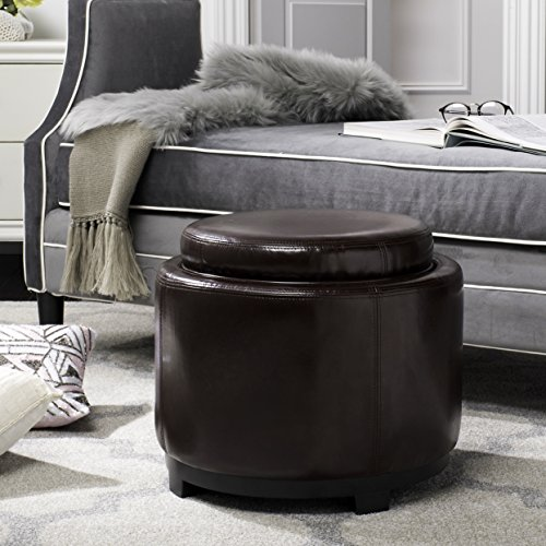 Safavieh Hudson Collection Chloe Leather Single Tray Round Storage Ottoman, Cordovan