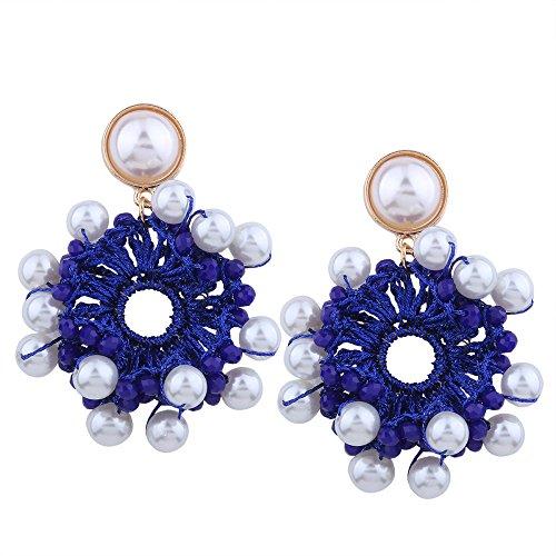 Perles en imitation perles de coton tissées à la main boucles d'oreilles tempérament multicolore boucles d'oreilles multicolores Blue