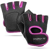 SYNERGY FIT | Guantes para Gimnasio de Mujer - Gym Anti-Derrapantes sin Dedos y con Muñequera Deportivos para Entrenamiento d