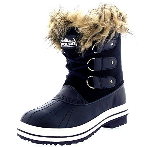 Polar Products Womens schnüren sich Gummisohle Short Winter Schnee Regen Schuh Stiefel Navy Wildleder