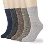 5-6 Pairs Womens Winter Warm Knit Soft Wool Cotton Vintage Style Boot Casual Ladies Crew Socks