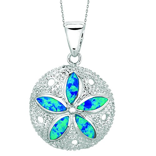 JewelStop 925 Sterling Silver Sand Dollar Seashore Created Opal Charm Pendant Necklace - ()
