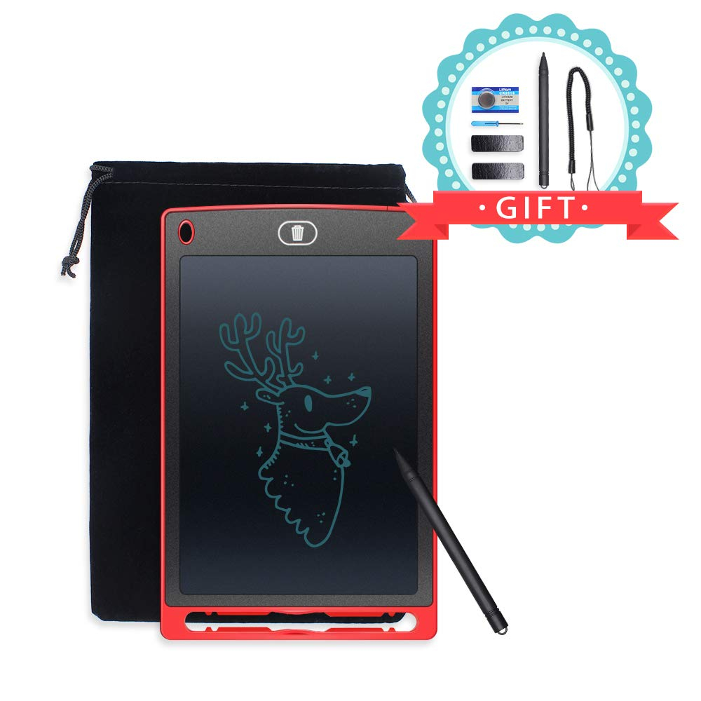 Hosim 8.5 Inch LCD Writing Tablet, Ultra-Thin Graphic Drawing Painting Board Graffiti Notepad Memo Notice Fridge Whiteboard for Kids and Adults at Home, School and Work Office (Red)