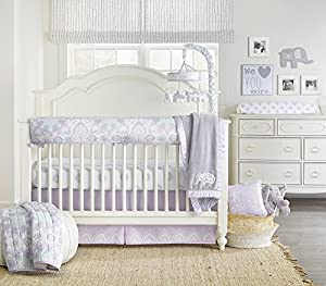Wendy Bellissimo Crib Teething Guard Reversible Rail Guard Medallion Pattern from the Anya Collection in Lavender and Grey